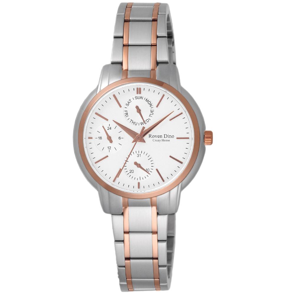 Roven Dino羅梵迪諾 指尖的調律三眼時尚腕錶-RD6063LTG-396/31mm