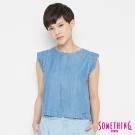 SOMETHING 無袖牛仔基本T恤-女-中古藍
