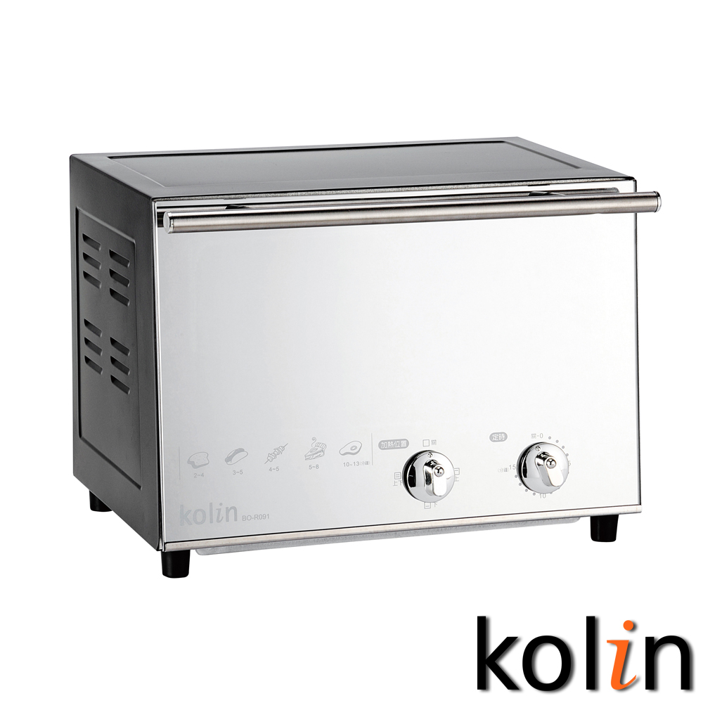 歌林kolin時尚鏡面三段火力鏡面烤箱(9公升) BO-R091
