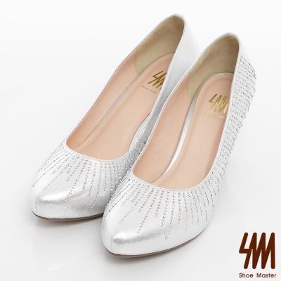SM-臺灣製-氣質閃耀水鑽素面新娘晚宴鞋-銀色