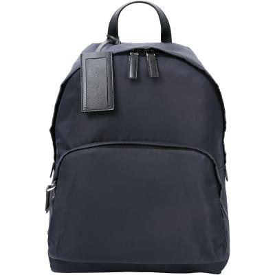 PRADA 前袋設計名牌吊飾尼龍後背包(深藍色)