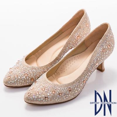 DN 典雅迷人 MIT閃耀滿鑽小圓尖頭跟鞋-金
