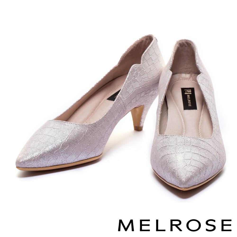 高跟鞋 MELROSE 時尚鱷魚壓紋全真皮尖頭高跟鞋 - 粉