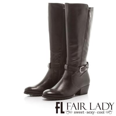 Fair Lady 女騎士飾扣帶低跟長筒靴 黑