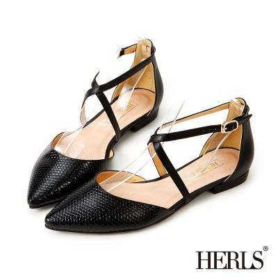 HERLS 蛇皮紋優雅繞踝平底鞋-黑色