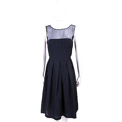 Max Mara 透膚設計夜藍色織花絲質洋裝