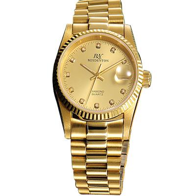 ROSDENTON 勞斯丹頓經典珍藏晶鑽時尚雙色手錶-金/27mm