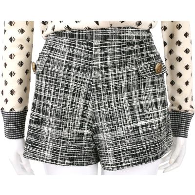 BOUTIQUE MOSCHINO 黑白格紋銅釦飾短褲