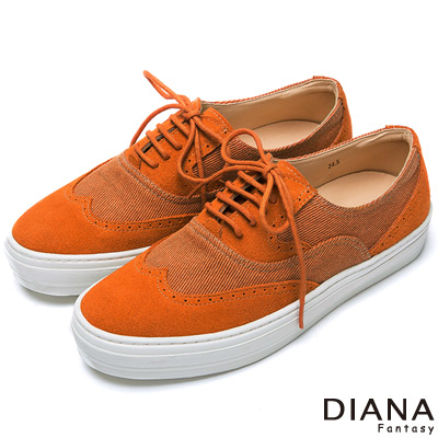DIANA 中性潮流--異材質綁帶牛津休閒鞋-橘