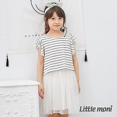 Little moni 條紋荷葉袖網紗洋裝 (2色可選)