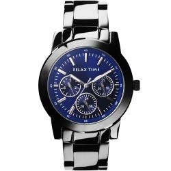 Relax Time 時尚達人日曆顯示手錶-藍xIP黑/38mm