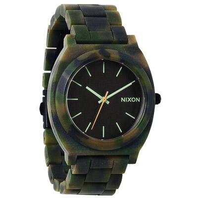 NIXON TIME TELLER ACETATE 絕代風華玻麗腕錶-黑x迷彩綠/40mm