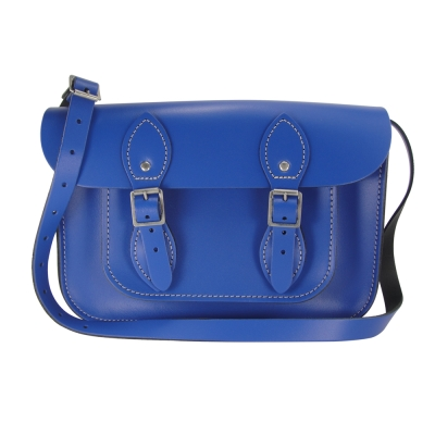 The Leather Satchel 英國手工牛皮劍橋包 肩背 側背包 牛津藍 11吋