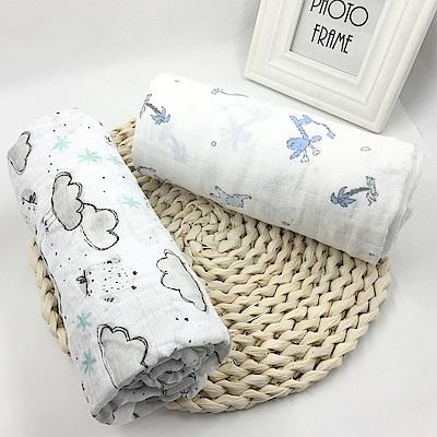 【JoyNa】竹纖維嬰兒紗布包巾-隨機2件入