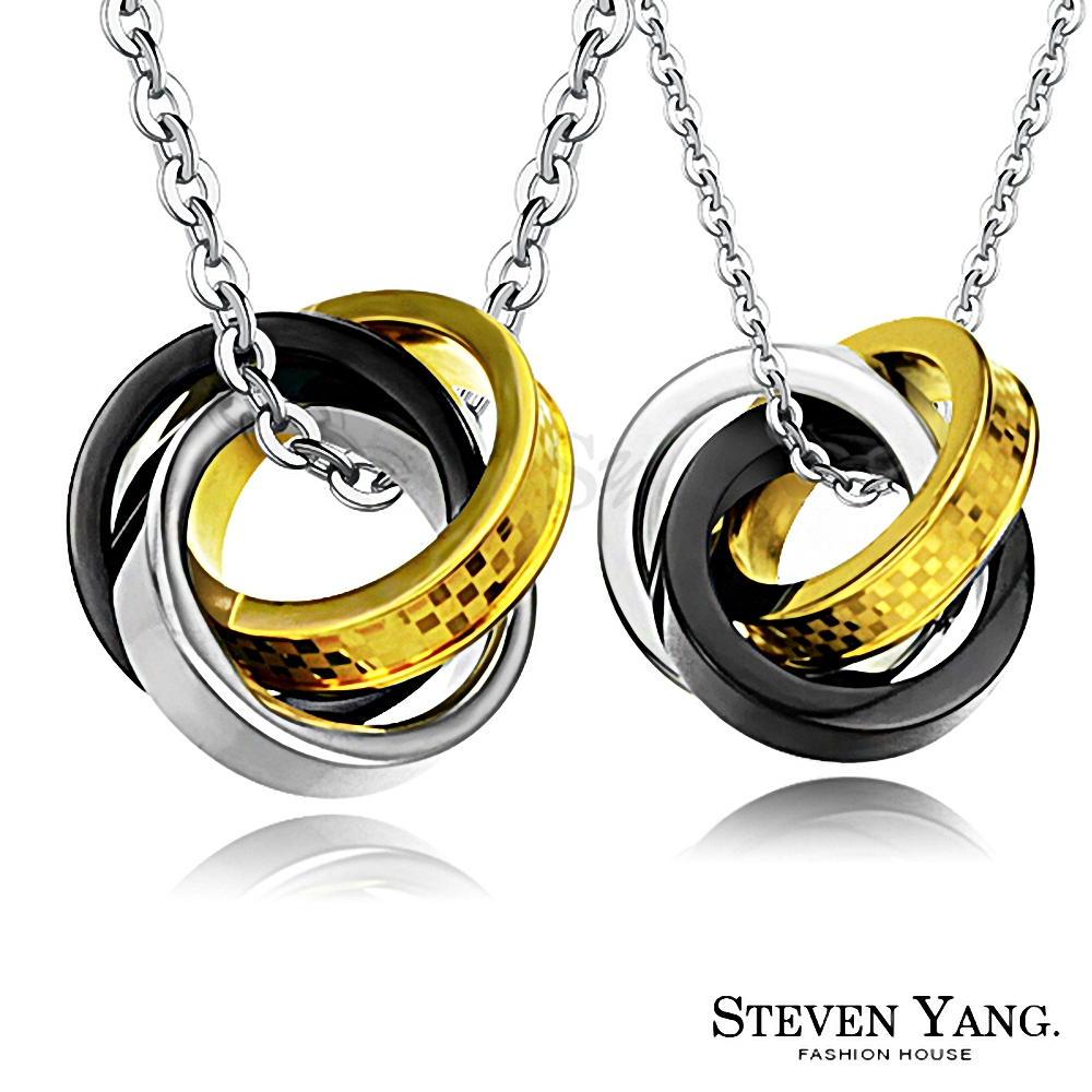 STEVEN YANG 白鋼情侶對鍊 真愛國度(黑色) product image 1