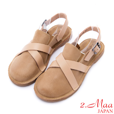 2.Maa - 復古打蠟小牛皮飾釦懶人圓頭鞋 - 卡其