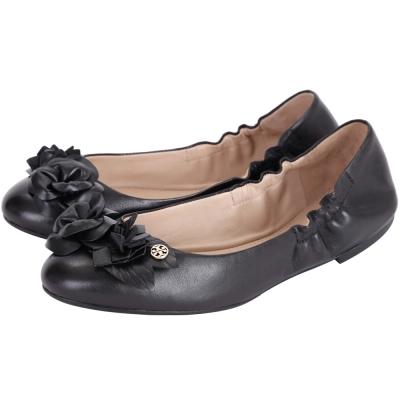 TORY BURCH Blossom 立體花朵設計皮革娃娃鞋(黑色)