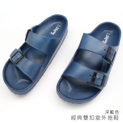 經典雙扣多功能拖鞋-深藍色