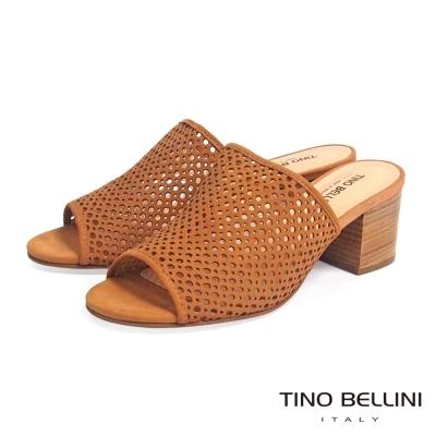 Tino Bellini 巴西 摩登時髦沖孔中跟穆勒鞋 _棕