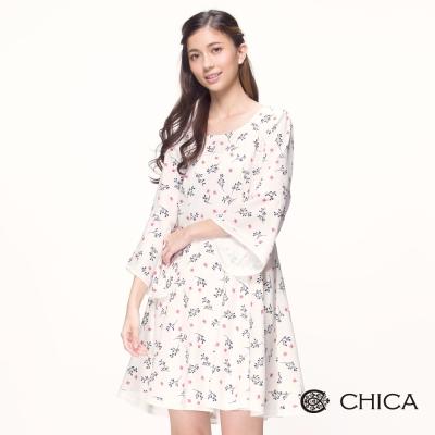 CHICA 花藝春漾滿版碎花設計洋裝(2色)