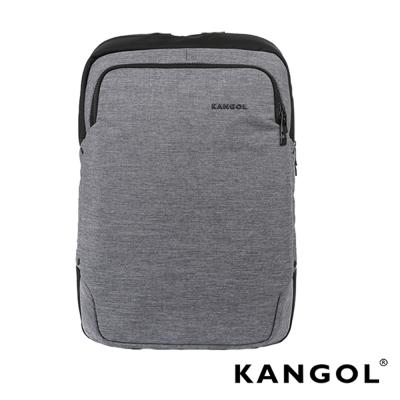 KANGOL韓國IT男爵系列-金屬釦抓皺設計防潑水男女休閒機能後背包-混織灰