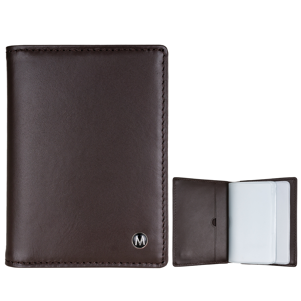 MONDAINE瑞士國鐵 牛皮信用卡夾-咖啡