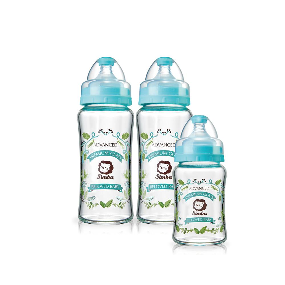 小獅王辛巴 蘿蔓晶鑽寬口玻璃奶瓶超值組(2大1小)