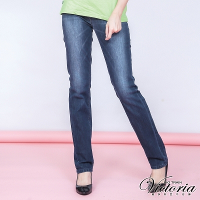 Victoria V字彩鑽中高腰中直筒褲-女-中深藍