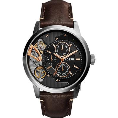 FOSSIL TWIST系列雙機芯日曆腕錶(ME 1163 )-灰x咖啡/ 44 mm