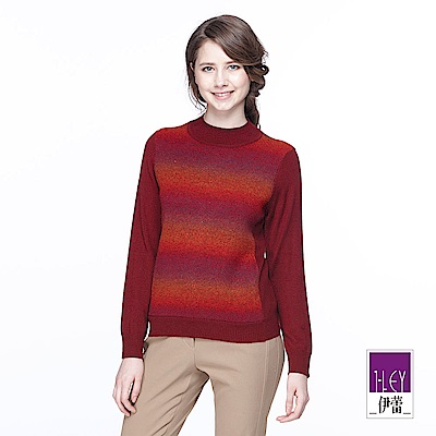 ILEY伊蕾 漸層緹織高領羊毛針織上衣(紅)