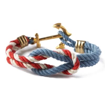 Kiel James Patrick 美國手工船錨水手繩結單圈手環 藍紅白編織