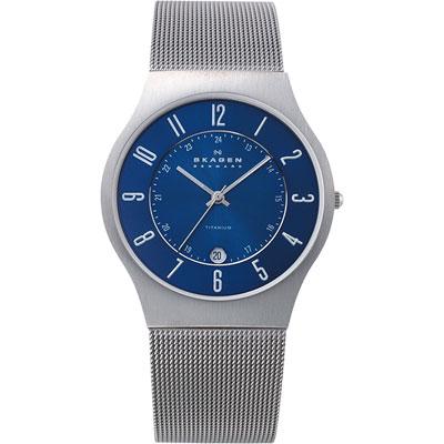 SKAGEN 【鈦】金屬系列 時尚腕錶-藍x銀/38mm