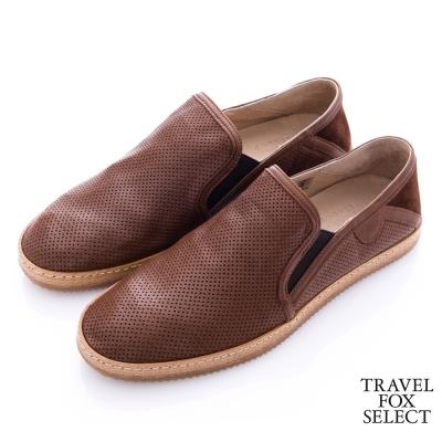 Travel Fox select(男) 文學家 網眼皮革舒適懶人鞋- 個性深咖