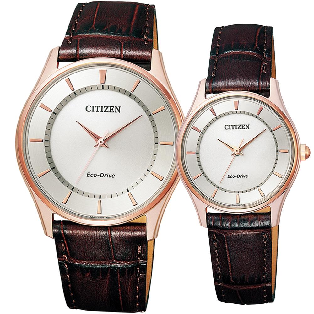 CITIZEN 星辰 靜謐優美光動能對錶-玫瑰金色/37x28mm