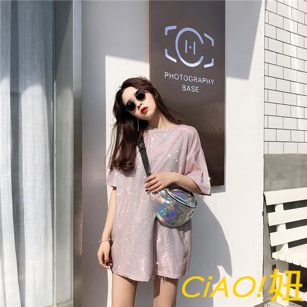 閃亮亮圓領短袖寬鬆T恤 (共三色)-CIAO妞