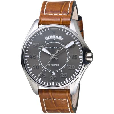 Hamilton KHAKI AVIATION 卡其飛行先鋒80小時機械腕錶-灰/42mm