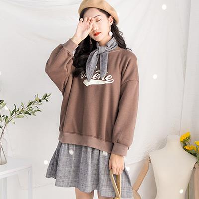 圓領撞色拼接長袖加絨洋裝 附綁帶 (共二色)-Kugi Girl