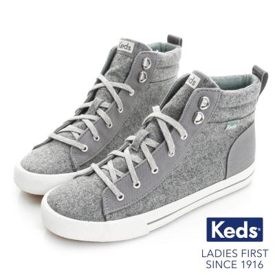 Keds 時尚復古運動高統綁帶休閒鞋-灰色