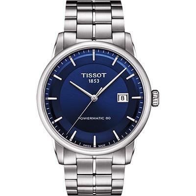 TISSOT LUXURY 動力儲存80機械腕錶-藍x銀/41mm