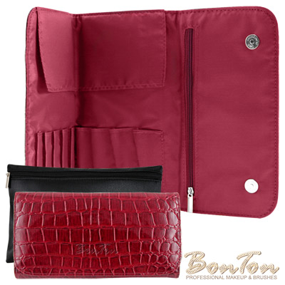 BonTon 9支時尚鱷紋雙磁釦刷具包 森巴紅