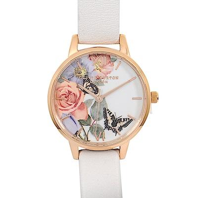 Olivia Burton 英倫復古手錶 魔法花園玫瑰金框 米色真皮錶帶30mm
