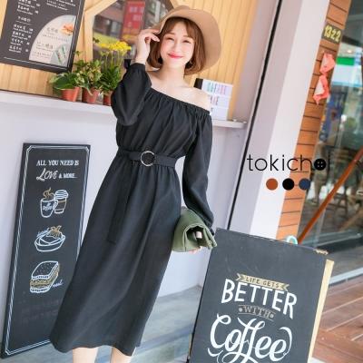東京著衣 多色修身顯瘦一字領洋裝-S.M(共三色)