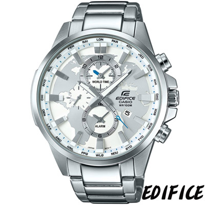 EDFICE 簡約三眼計時腕錶(EFR-303D-7A)-白色/48.8mm