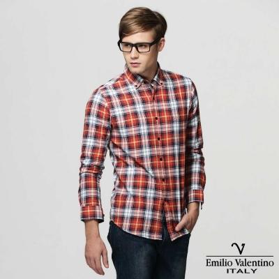 Emilio Valentino 范倫提諾水洗格紋襯衫-紅