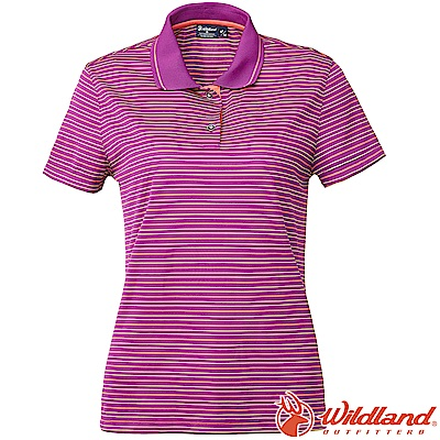 Wildland 荒野 0A61601-58葡萄紫 女涼感條紋Yoke上衣