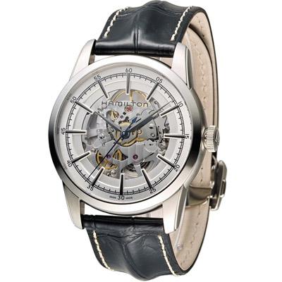 Hamilton 漢米爾頓 永恆經典鏤空腕錶-銀色x鏤空/皮帶/42mm