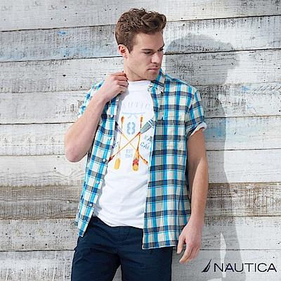 Nautica 經典格紋短袖襯衫 -天藍
