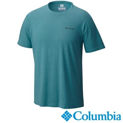 【Columbia哥倫比亞】男-酷涼快排混棉短袖上衣-碧綠色 UAM15730JP