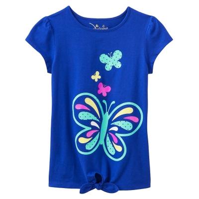 歐美風格設計 小童女童短棉T居家外出 飛舞蝴蝶 藍色