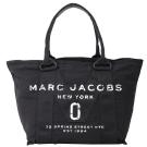 MARC JACOBS New Logo 丹寧帆布購物包(小/黑色)